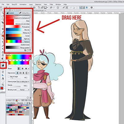 There are several gradients that you can download and import into clip studio paint through clip studio asset!