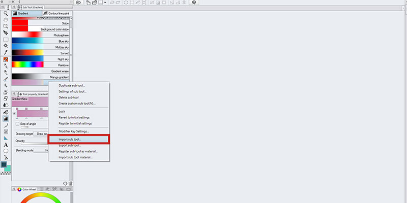 Use the import sub tool in clip studio paint to import from a material set or file in clip studio paint