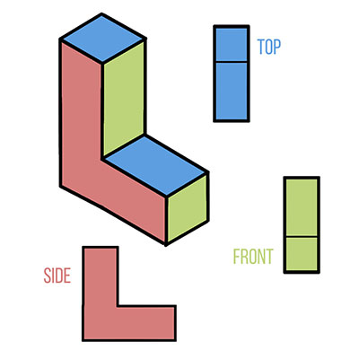 Here's how an isometric object looks like in an orthographic view!