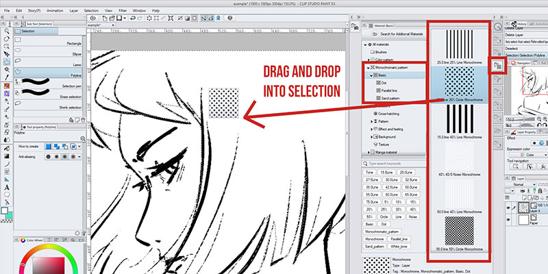 One of the the methods of applying screentone in clip studio paint is dragging and dropping, like this!