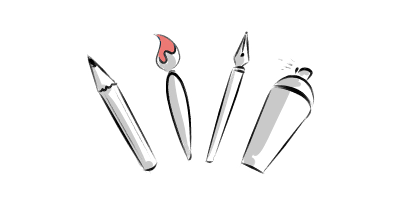 illustration of different art mediums to draw and paint with
