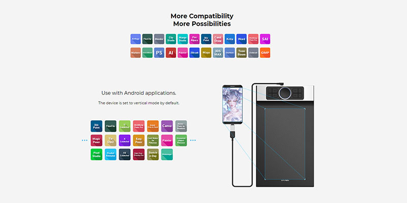 compatible drawing software for the deco pro mw, both in mobile and on the PC