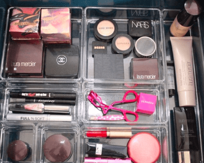 make up divided by bins, top ten favorite organizing supplies