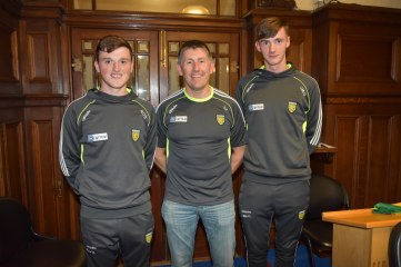 Minor Team Manager, SP Barrett and his joint team captains Niall O' Donnell & Jason Mc Gee