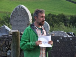 Archaeologist Michael Drumm outlines the importance of the monastic site at Drumhome on Friday, August 26.