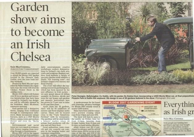 peter donegan landscaping, irish times, bloom garden