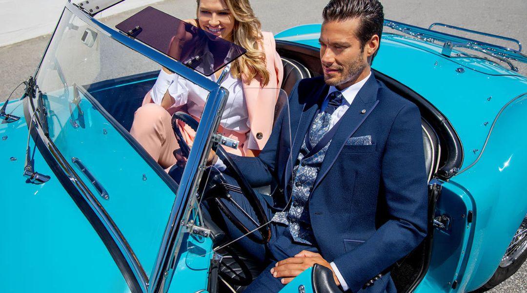 traje de novio azul de roberto vicentti