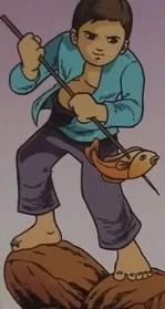 cerita rakyat aceh - Pangeran Amat Mude sedang menombak ikan