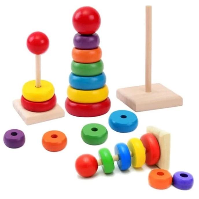 Mainan Edukasi Kayu Rainbow Tower Ring Menara