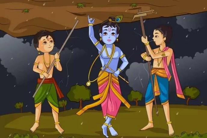 Basudewa Krisna mengangkat bukit Govardhan Dewa Krisna vs Dewa Indra