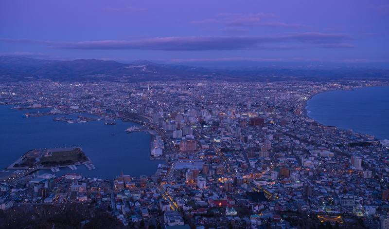 函館山からの夕暮れの景色