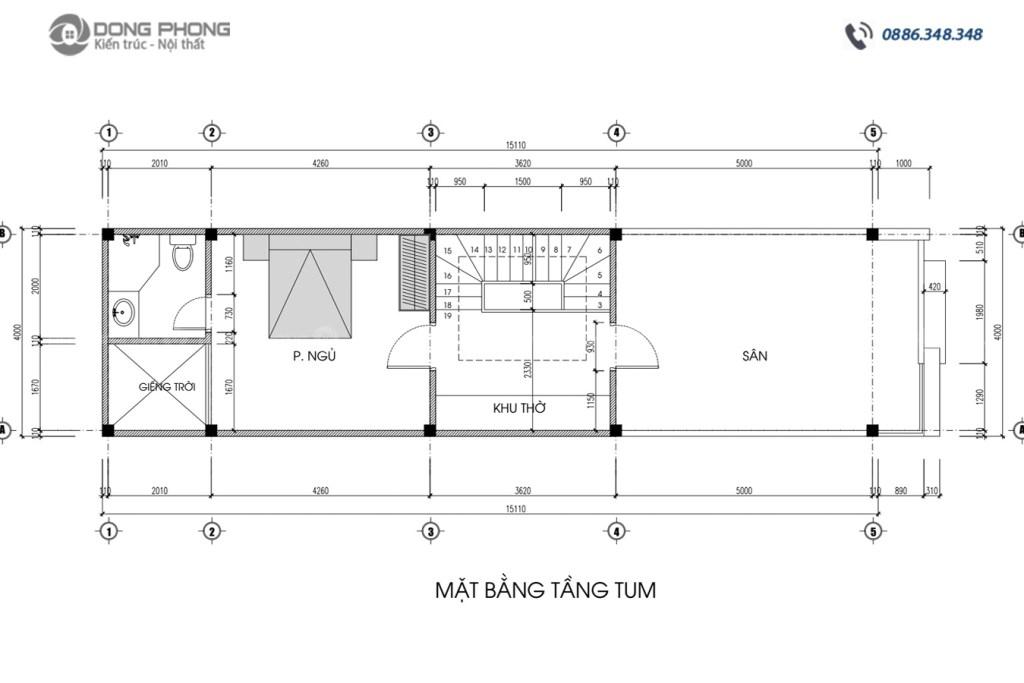 bản vẽ nhà 2 tầng 1 tum hiện đại tầng tum