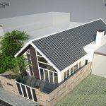 thiết kế mẫu nhà 1 ống 1 tầng 2 phòng ngủ nhìn từ trên cao