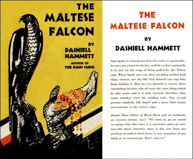 The Maltese Falcon by Dashiell Hammett, Knoph 1930 dustjacket