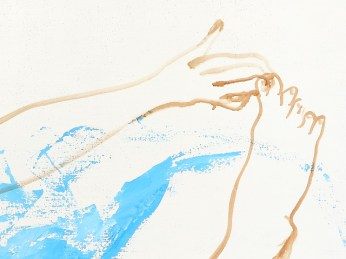 """""""a Woman Scratching Her Leg """" - DETAIL 1, acrylic on canvas - 100 x 100 cm, 2003"""