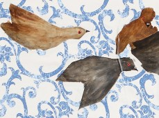 """Homing Pigeons"" - DETAIL 3, oil on canvas - 137 x 225 cm, 2008"