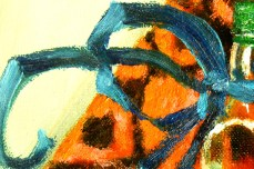 """""""Still Life With a Blue Ribbon""""- DETAIL 1, oil on canvas - 50 x 55 cm, 2000"""