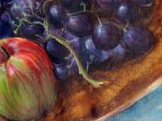 """""""Curiously"""" - DETAIL 2, oil on dyed canvas - 65 x 65 cm, 2010"""