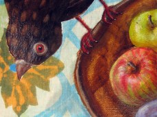"""""""Curiously"""" - DETAIL 3, oil on dyed canvas - 65 x 65 cm, 2010"""