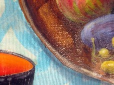 """""""Curiously"""" - DETAIL 4, oil on dyed canvas - 65 x 65 cm, 2010"""