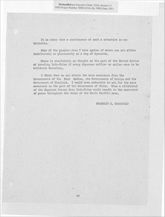 Roosevelt Hirohito December 6, 1941