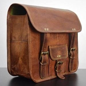 Alforja lateral de piel marrón 2 bolsas
