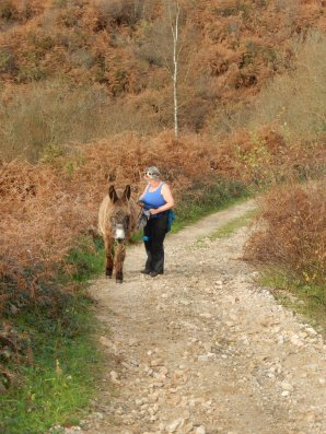 Kees on donkey walk with Ria
