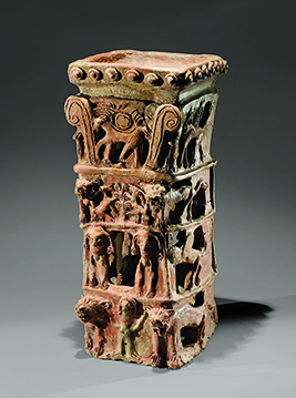 Stand for sacrificing animals or incense offerings Taanach 10th century BCE Pottery H. 53.7 cm W. 24.5 cm D. 22 cm Excavations of the American Schools of Oriental Research and Concordia Seminary, St. Louis, Missouri SAOJS K 4197