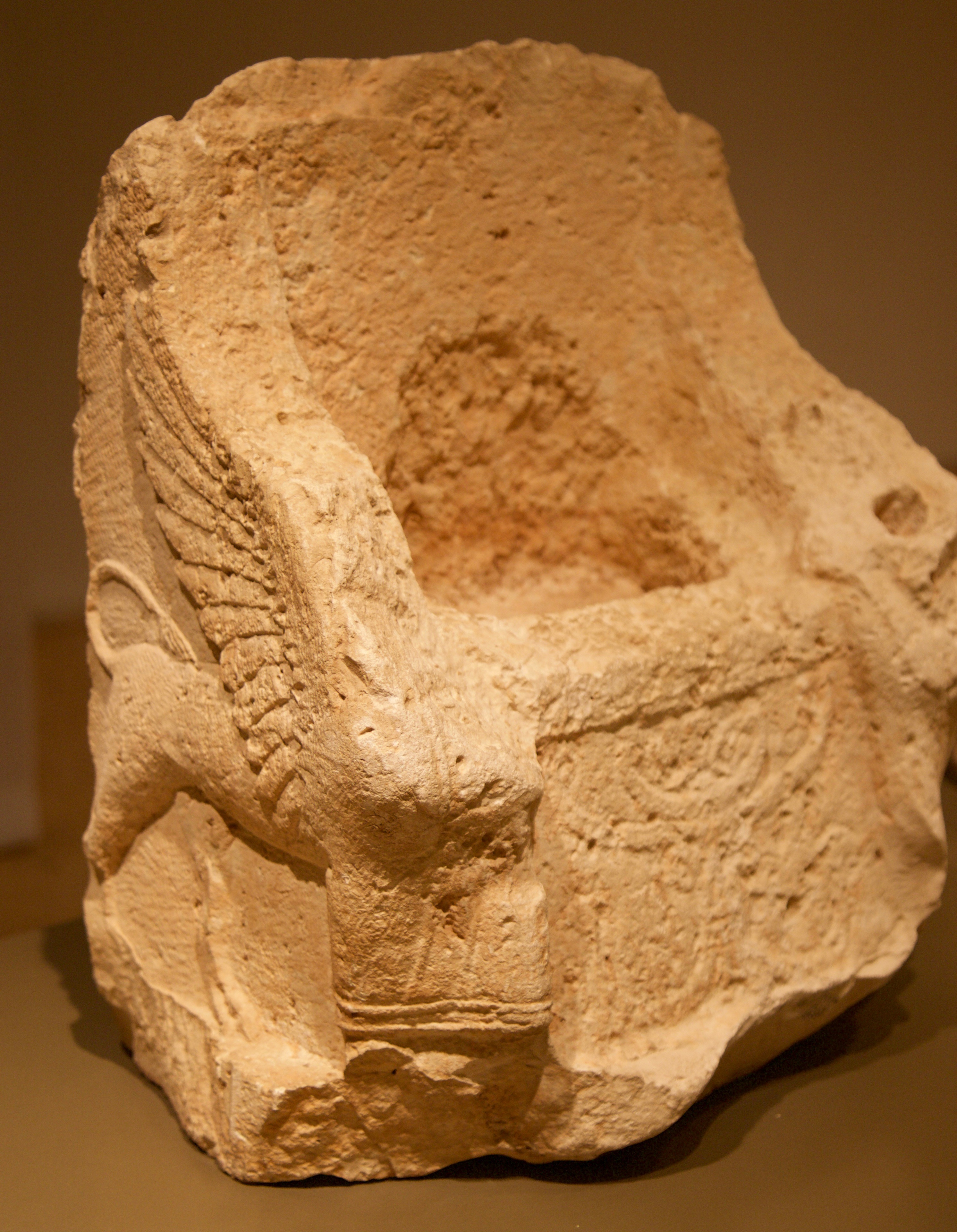 """Palm tree, tree of life, representing the fertility provided by Astarte. Situated between the two winged sphinx guarding her """"empty"""" throne. Hellenistic period. Don Michael Hudson, PhD National Museum of Beirut Beirut, Lebanon"""