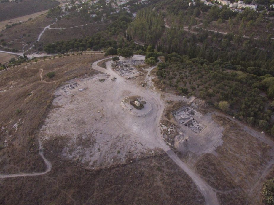 Aerial view of the Sheikh Abreik hill and some of the excavated areas. Photo by Eli Gershtein.