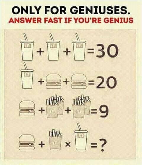 ONLY FOR GENIUSES PUZZLE/ McdONALDS BRAIN TEASER