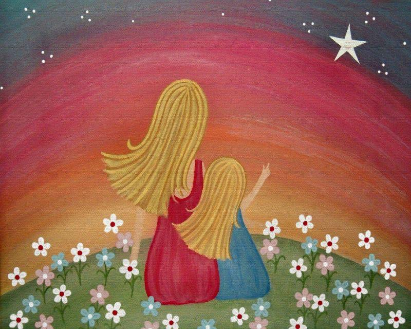 PAINTING OF MOTHER AND DAUGHTER BY RAINBOW