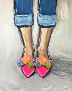 Print of pink woman's shoes by maren devine