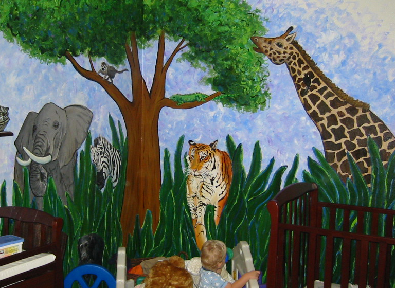 Jungle Wall Mural Art Painting by DonnaBellas.com