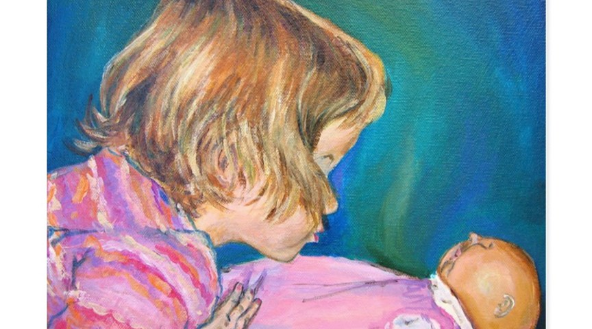 Pink Pajamas Toddler Portrait Art Painting