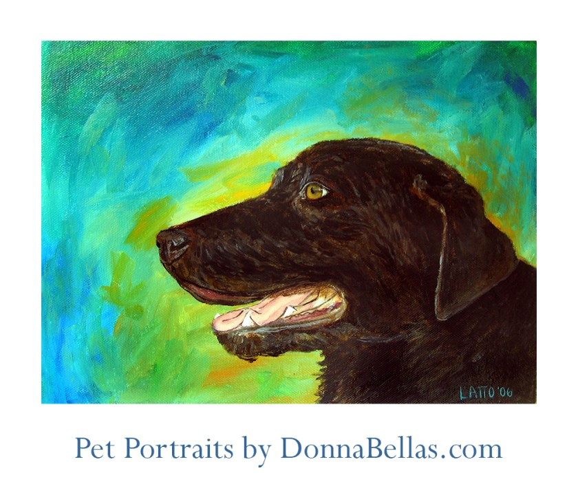 Black Lab Pet Portrait Painting by DonnaBellas.com