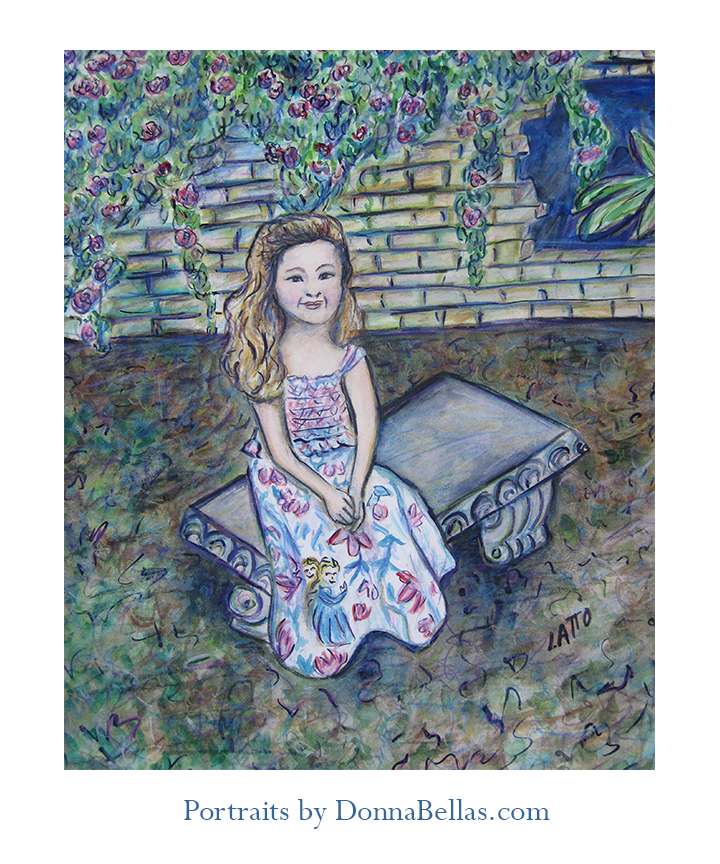 Watercolor Portrait Painting of a Girl in a Garden by DonnaBellas.comr