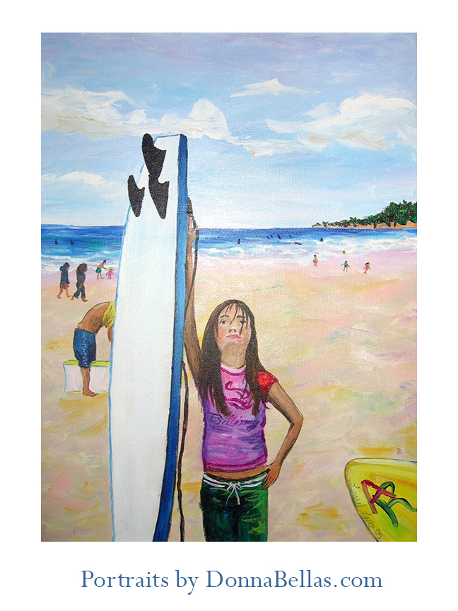 Surfer Girl Portrait Painting by DonnaBellas.com