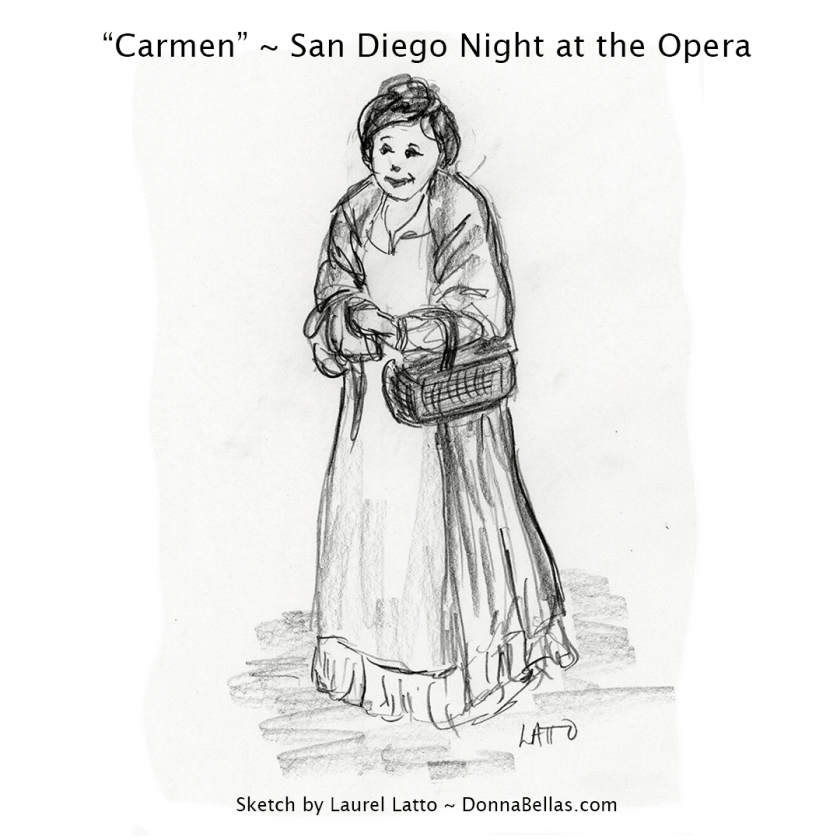 "Micaëla, A Village Maiden ~ Pencil sketch drawing of opera ""Carmen"" from San Diego Opera's Artist Night"