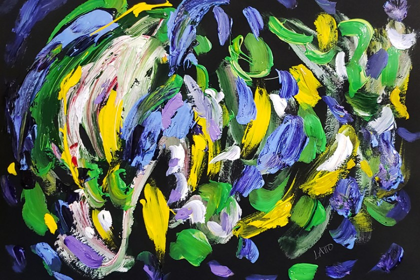 Abstract Painting 16 on Colored Paper (Wet Paint)