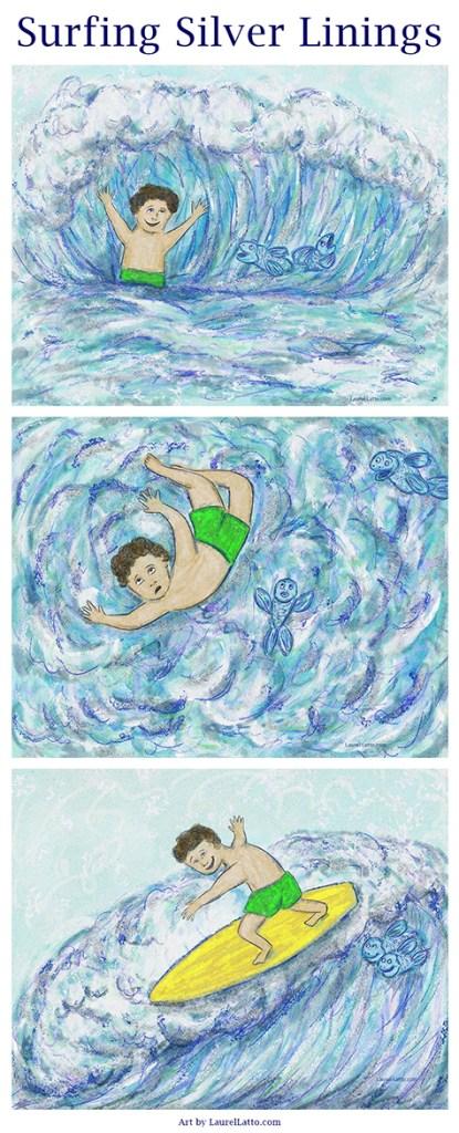 Surfing Silver Linings Narrative Art Illustration Series