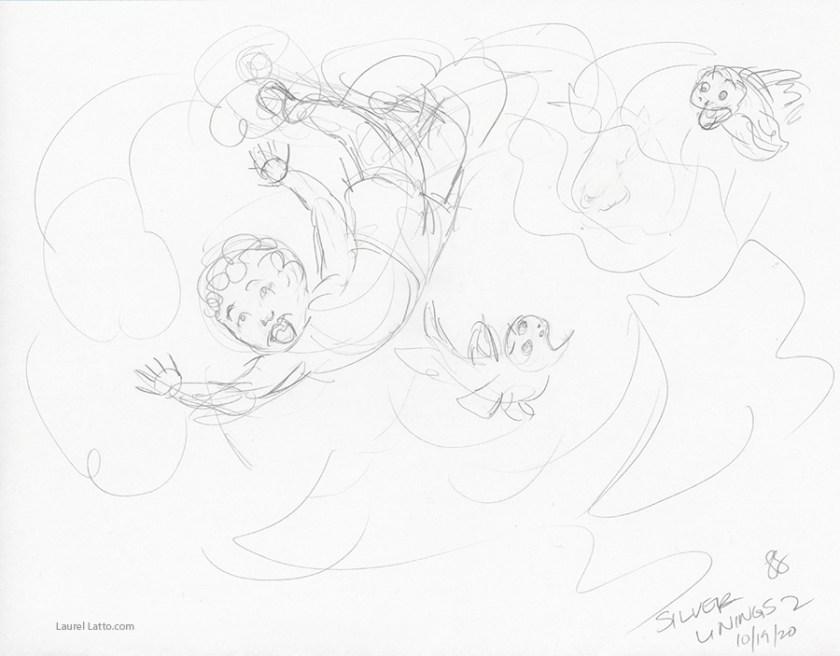 Surfing Silver Linings Narrative Art Illustration (Panel 2 Pencil Sketch)