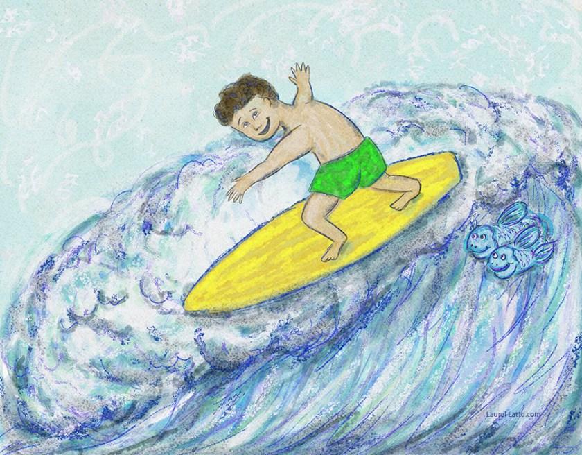 Surfing Silver Linings Narrative Art Illustration (Panel 3)