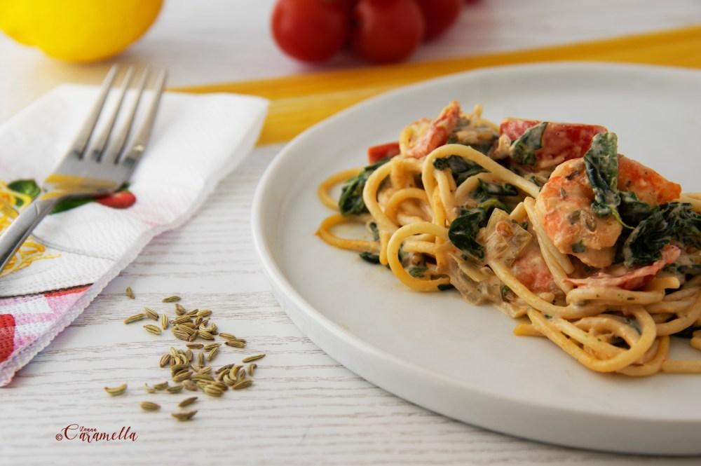 Pasta met spinazie en gamba's