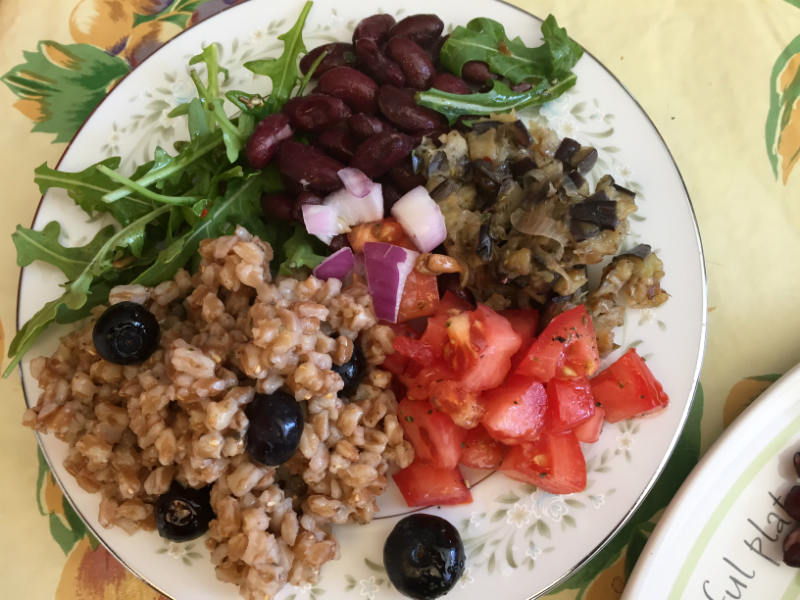 Buddha Bowl With Farro and Eggplant