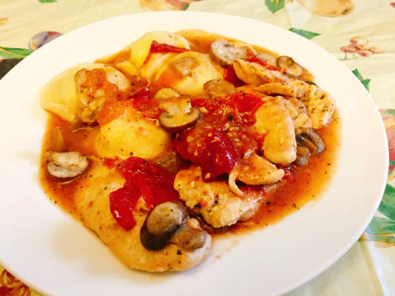 Chicken Paisano with ravioli