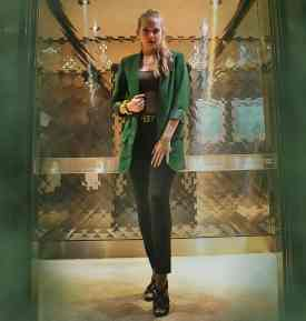 I put together a Loki Disney Bound with a green blazer, brown cami, and plack pants. An elevator at a hotel I was staying at provided a perfect crystalized looking golden elevator. I added in some green and black smoke effects to the picture borders.