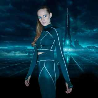 My most favorite Tron edit features me in a matching two-piece black workout set with white contrast stitching. In the background I edited in a landscape of the Grid in Tron Legacy.