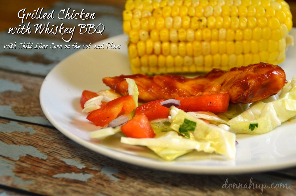 BBQ Whiskey Grilled Chicken and Chili Lime Corn on the Cob