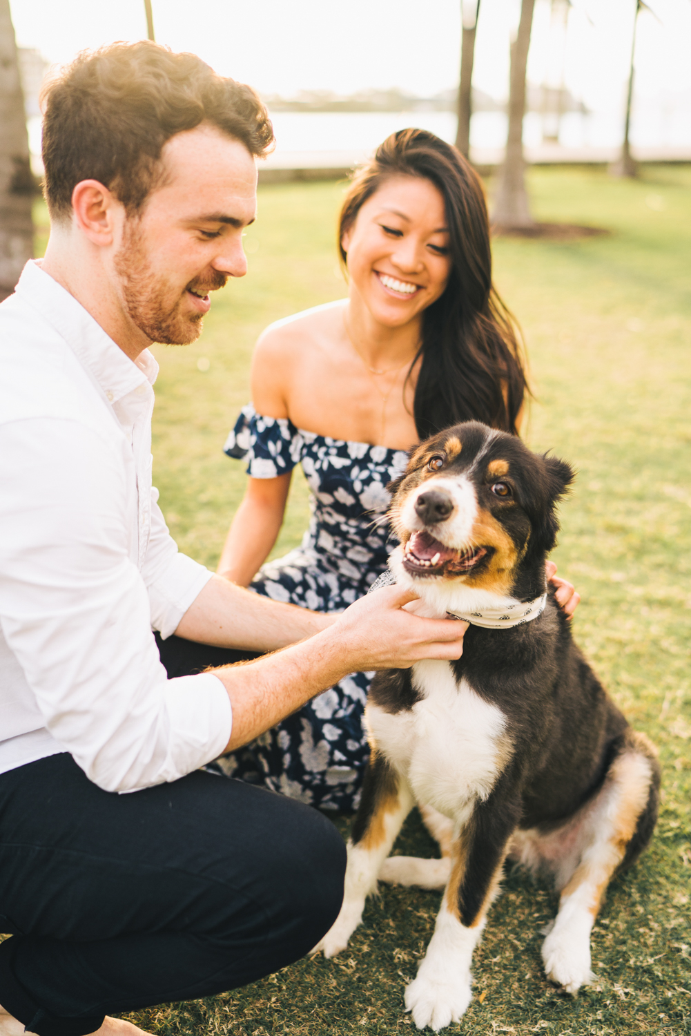 couples session with dog